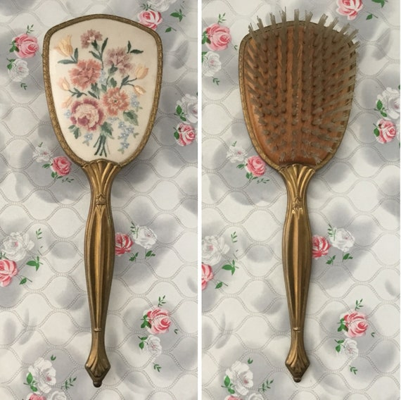 1950s hairbrush with gold tone handle and petit point flowers, dressing table vanity brush with pink roses