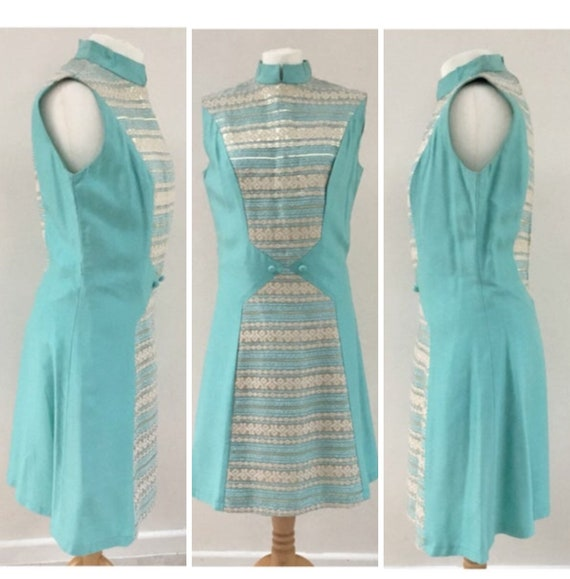 Vintage 1960s turquoise and gold lamé evening dress with mandarin collar, 12 to 14 formal Doreé Leventhal mid-century A-line party dress,