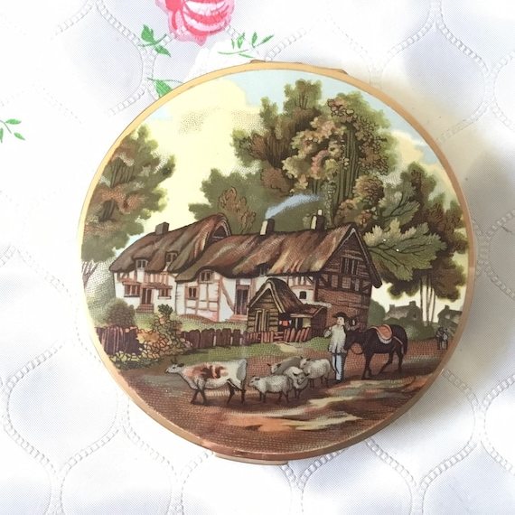 1950s Stratton convertible powder compact with country thatched cottage, vintage gold tone 1960s handbag makeup mirror,
