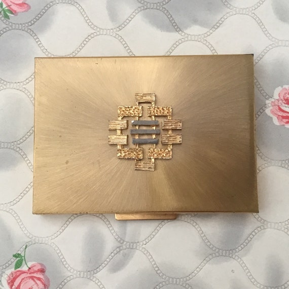 Kigu gold metal ladies cigarette case, c1960s vintage business card holder