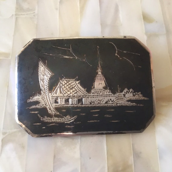 Vintage Thai sterling silver niello brooch or pendanwith a sailboat.  This 1940s nielloware brooch was made in Thailand,