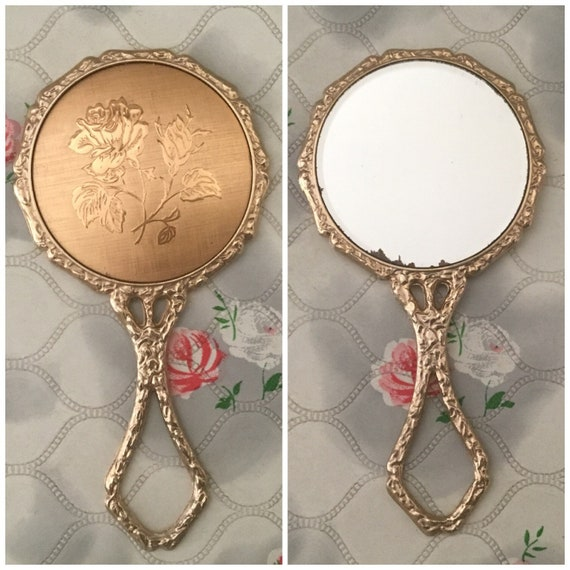 Compact makeup mirror with gold rose, mid-century mini vanity hand mirror,