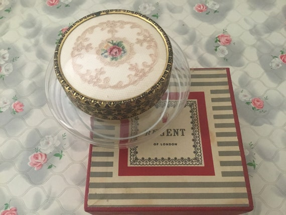 Regent of London glass powder bowl with petit point floral embroidery, vintage c1940s or 1950s dressing table trinket pot