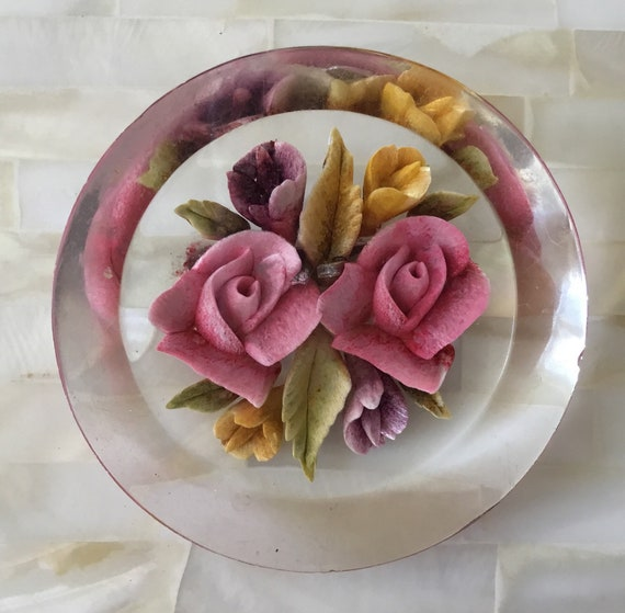 Vintage reverse carved lucite brooch with pink roses, c1950s.