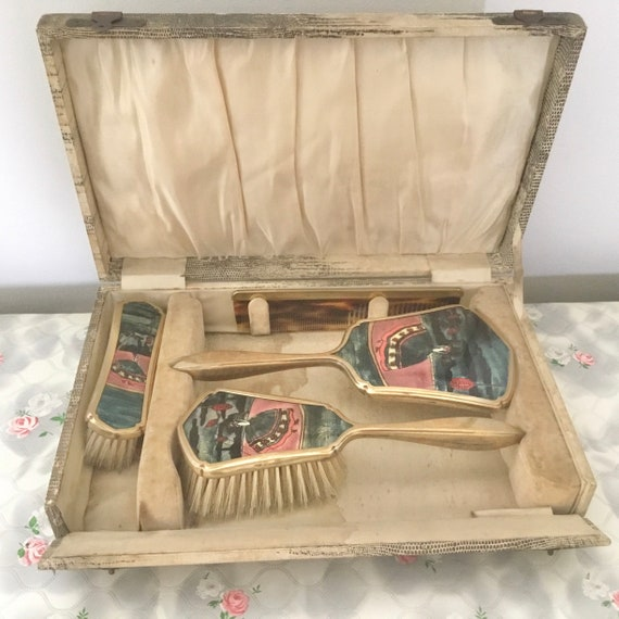 Art Deco dresser set by J W Tiptaft, crinoline ladies c1920s or 1930s, foil vanity set with vintage hairbrush, clothes brush, hand mirror