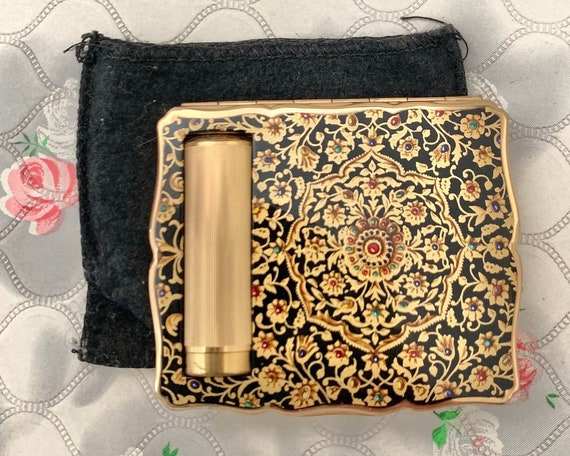 Stratton Empress powder compact with lipstick holder, vintage 1950s Stratton duo compact, with makeup mirror