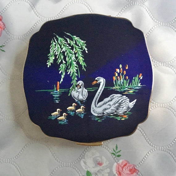 Melissa convertible powder compact with swans, handbag makeup mirror with water birds