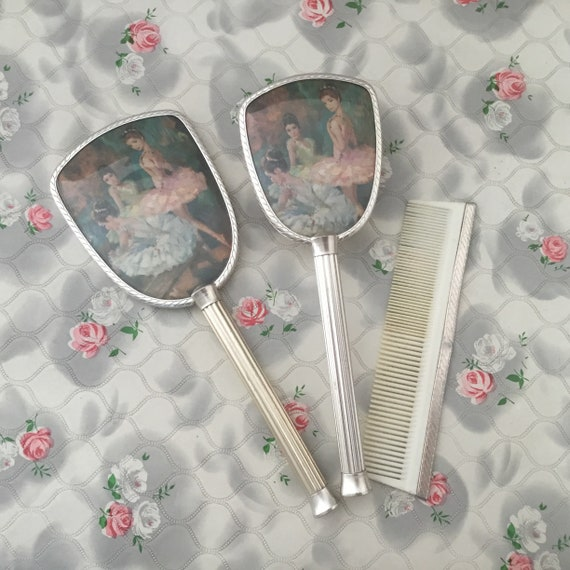 Girls ballerina brush or vanity set with hairbrush, mirror and comb, c1970s childs ballet dresser set