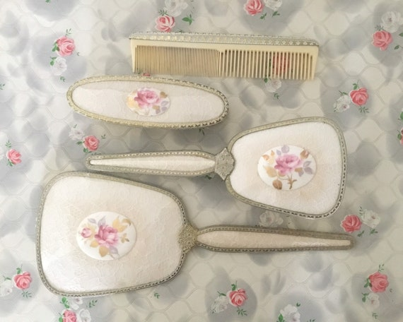 Regent of London vintage vanity set with hand mirror, hairbrush, comb and clothes brush, lace and rose brush or dresser set c1950s or 1960s