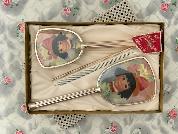 Girls vanity set with hairbrush, hand mirror and comb, c1970s childs Roccoco dresser set