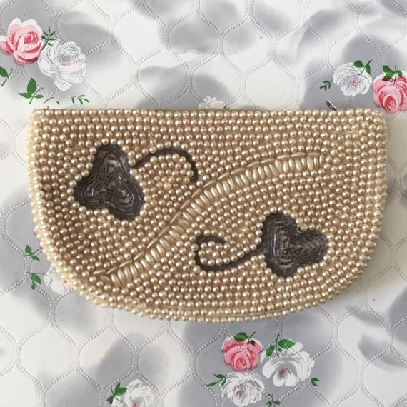 Miss Universe vintage evening bag with faux cream pearls beads, 1950s or 1960s beaded wedding purse,