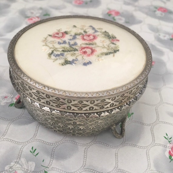 Regent of London powder bowl c 1950s, silver tone Dressing table trinket jar with petit point embroidered pink roses