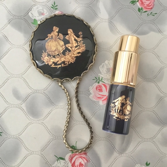 Limoges mini hand mirror with ceramic tile, and vintage atomiser perfume bottle, 18th century romantic couple on a porcelain plaque