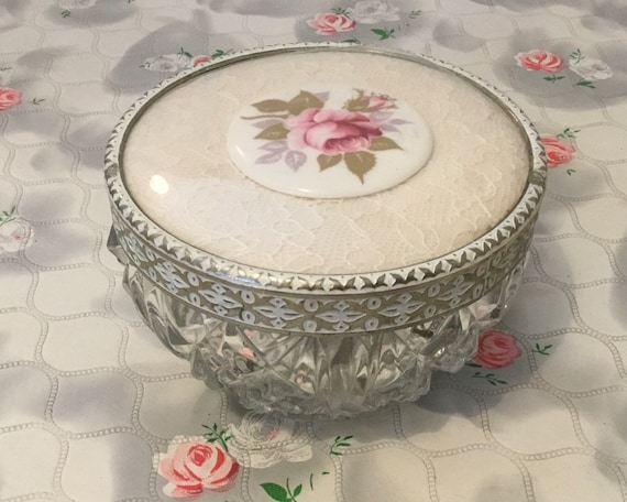 Regent of London powder bowl, with lace and porcelain pink rose, vintage 1950s mid-century pressed glass Dressing table trinket pot,