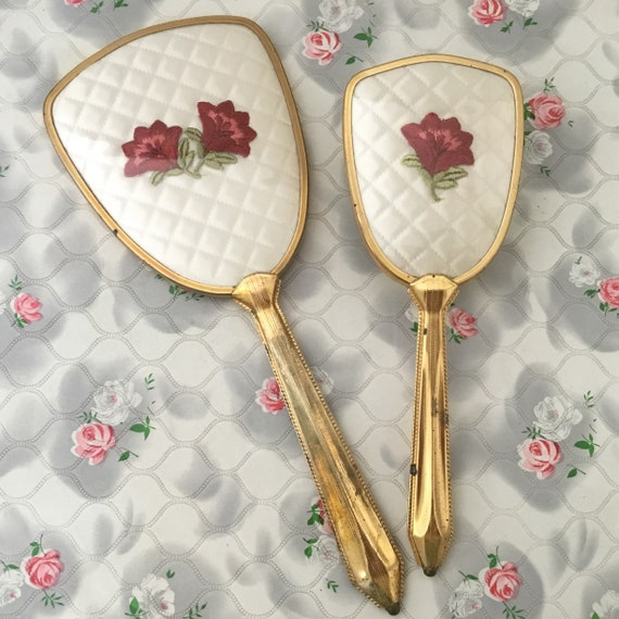 Vintage vanity set, with hairbrush and hand mirror, c1960s gold and white with red flowers, floral brush or dresser set