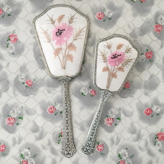Regent of London vanity set, with hand mirror and hairbrush c 1950s or 1960s, vintage embroidered brush set, with pink flowers