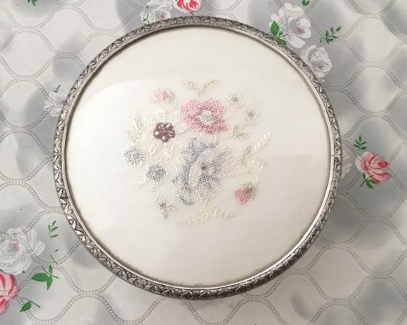 Regent of London pressed glass powder bowl, with blue and pink petit point embroidered flowers, c1950s 1960s Dressing table trinket pot