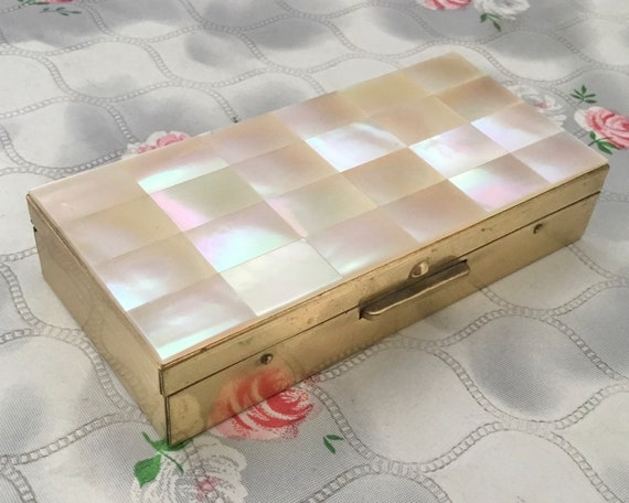 Mother of pearl cigarette case, ladies vintage trinket box made in Japan c1950s or 1960s