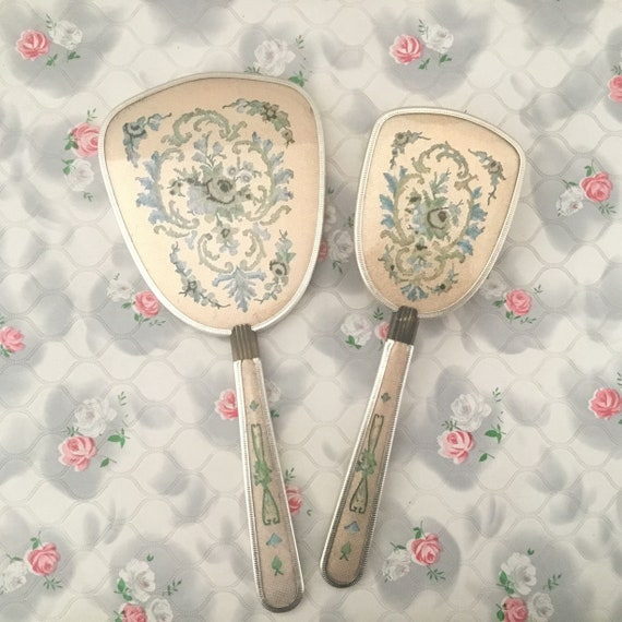 Vintage dresser set with hairbrush and hand mirror, with faux embroidery, mid-century vanity set with rose print