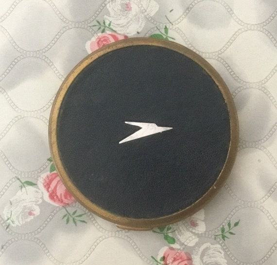 Mascot BOAC powder compact, c 1960s with dark blue faux leather, vintage airline souvenir makeup mirror