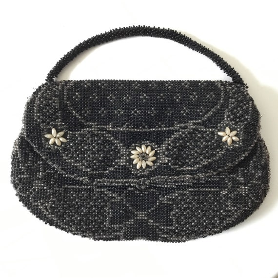 Czech beaded black evening purse, c 1930 1940 made in Czechoslovakia, vintage Art Deco wristlet bag with black, silver and pearl beads