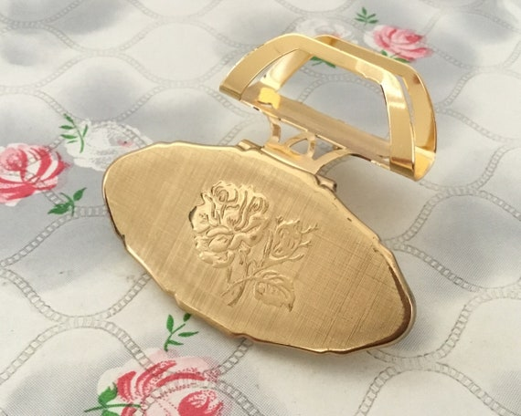 Stratton Lipview lipstick holder, c1990s gold tone compact lip mirror, with rose, vintage handbag accessory