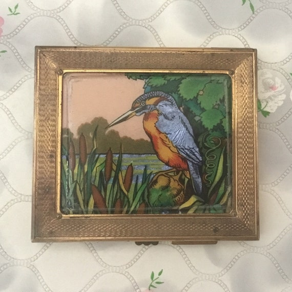 Gwenda cigarette case with foil kingfisher, c1940s or 1950s, ladies vintage Hussey and Dawson business card holder, smoking accessory