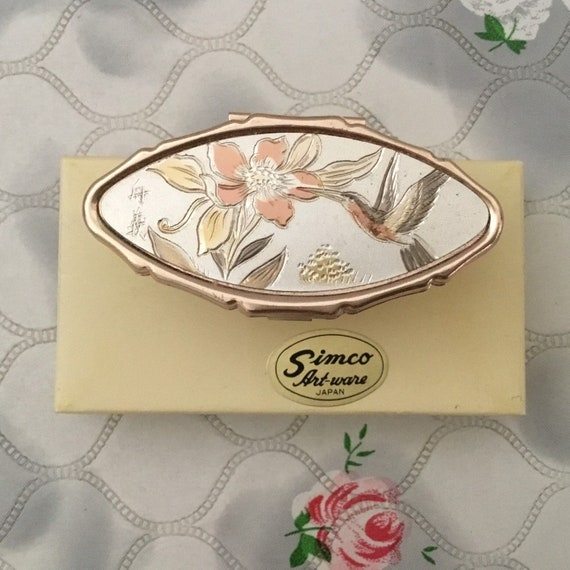 vintage Chokin lip mirror and lipstick holder, with flower and hummingbird, by Simco artware Japan, adjustable makeup mirror with box