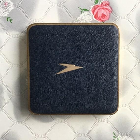 Mascot BOAC powder compact, c 1960s 1970s with dark blue faux leather, vintage airline souvenir makeup mirror