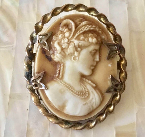 Vintage Cameo brooch with plastic cameo and c-clasp