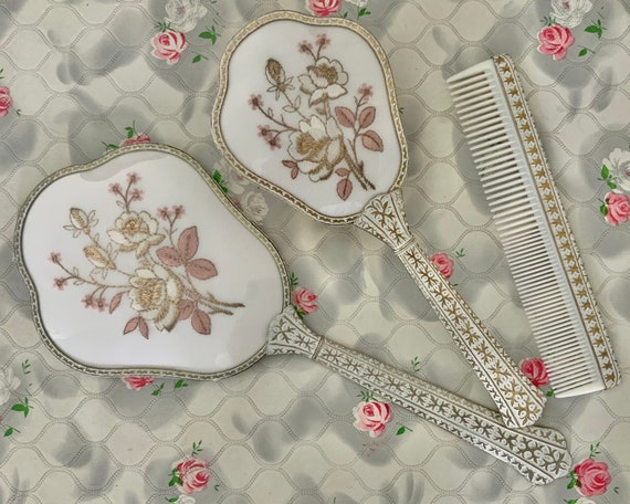 Regent of London dresser set with hand mirror, hairbrush and comb, vintage vanity set c1950 with white roses embroidery
