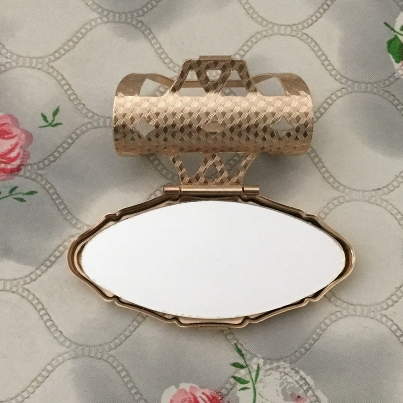 with flower and hummingbird vintage Chokin lip mirror and lipstick holder by simco artware Japan adjustable makeup mirror with box