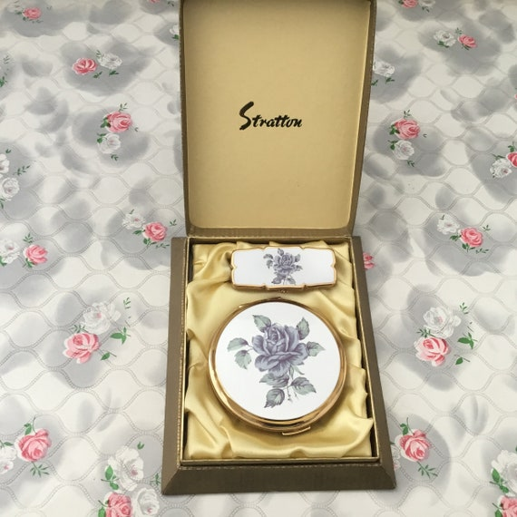 Stratton powder compact and lipview set with purple rose, boxed !970s or 1980s lipstick holder and makeup mirror