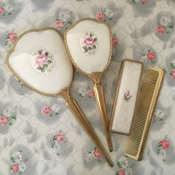 Lissco Vanity set with hand mirror, hairbrush, clothes brush and comb, vintage 1950s or 1960s dresser set with pink porcelain roses and lace