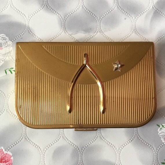 Coty New York wishbone duo powder compact, c 1950s collectible gold tone combination compact, handbag makeup mirror