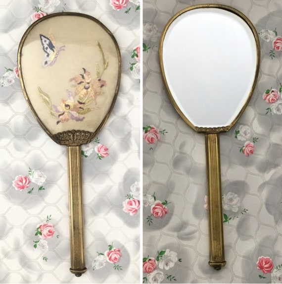 Vintage vanity mirror with butterfly and flowers embroidery, c 1940s embroidered hand mirror for a dressing table