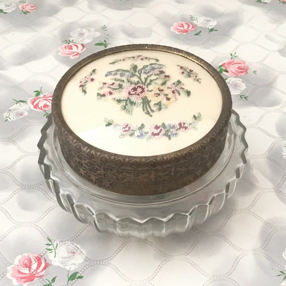Regent of London pressed glass powder bowl with petit point floral embroidery, vintage c1950s, dressing table trinket pot