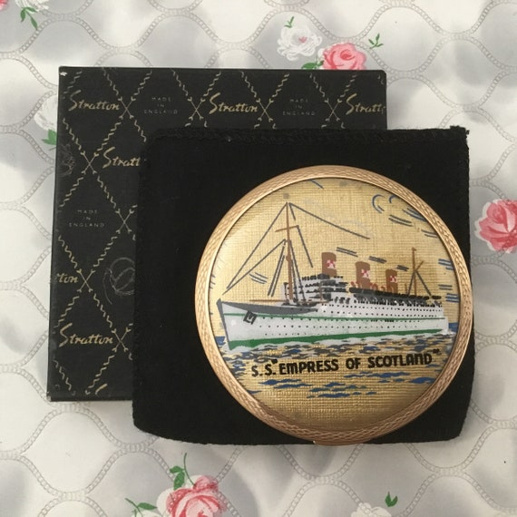 Stratton loose powder compact with S.S. Empress of Scotland cruise ship, c 1950s vintage makeup mirror with ocean liner