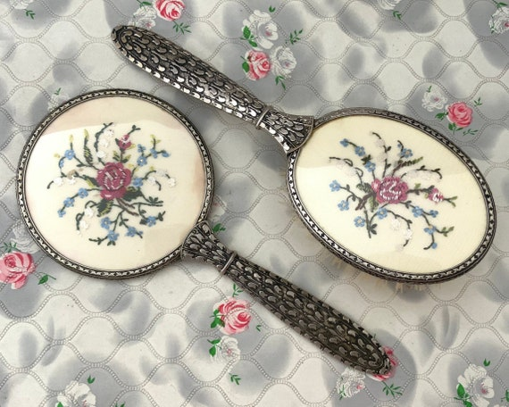 Regent of London vintage brush set with a hairbrush and hand mirror, mid century pink roses vanity set