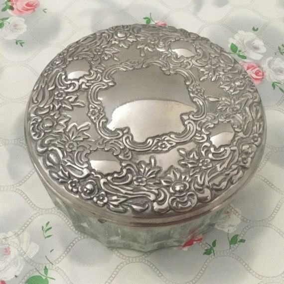 Glass powder bowl with silver plated lid, vintage dressing table trinket pot with hand mirror