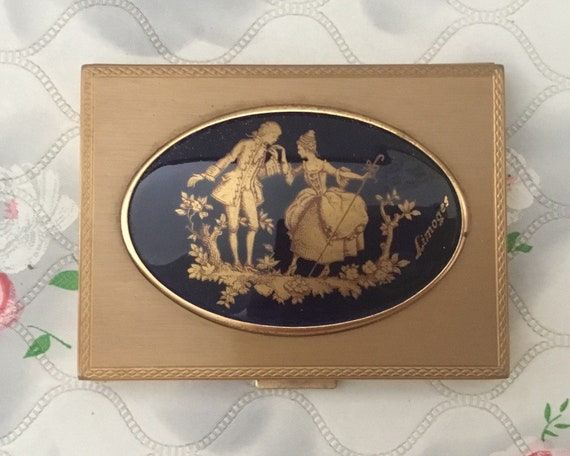 Limoges loose powder compact with ceramic tile, vintage black and gold makeup mirror with 18th century romantic couple on a porcelain plaque