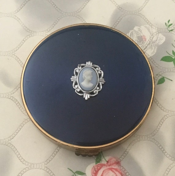 Vintage powder compact for cream powder, blue with cameo, 1960s or 1970s handbag makeup mirror,