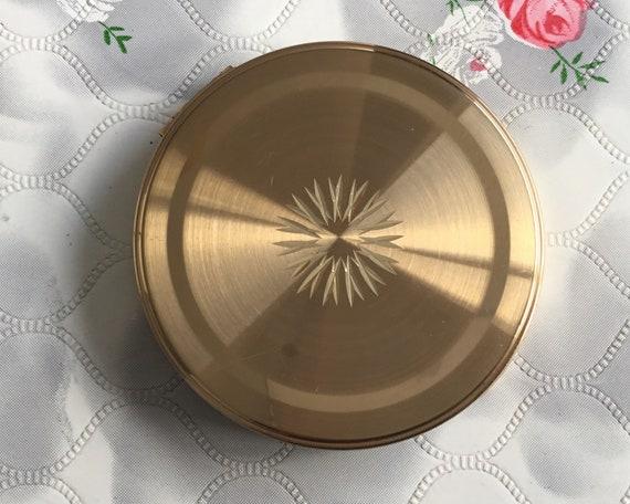 Margaret Rose creme powder compact, gold tone makeup mirror c1960s or 1970s