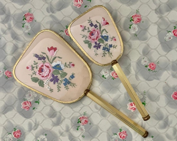 Vintage hairbrush with gold tone handle and pink embroidered roses, dressing table vanity brush