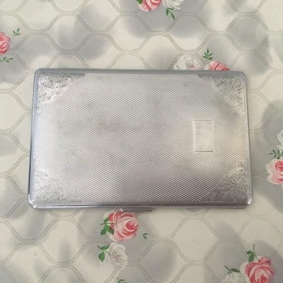 Har-bro vintage cigarette case, large ladies or gents silver metal or chrome cigarette holder