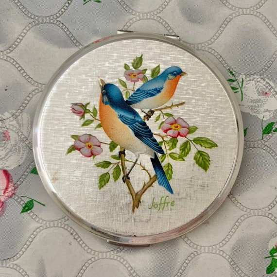 Stratton birds cream powder compact c1970, vintage silver makeup mirror with chaffinches