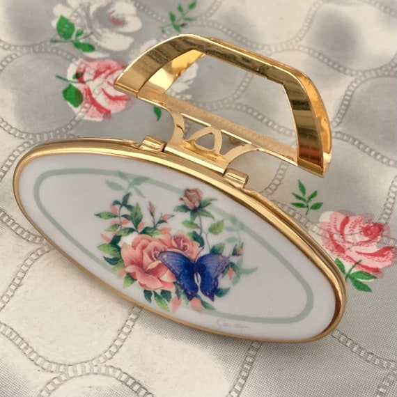 Stratton lipview lipstick holder, vintage pink rose and butterfly compact lip mirror, c1990s