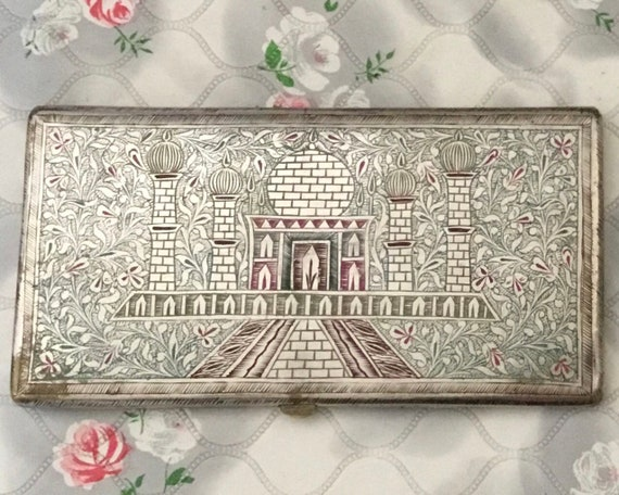 Vintage hand engraved cigarette case, with Taj Mahal, mid-century souvenir of India, metal business card holder,