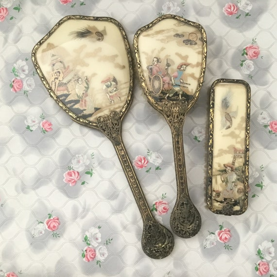 Dresser set with hand mirror, clothes brush and hairbrush, vintage Japanese or Chinese image dressing or vanity table set