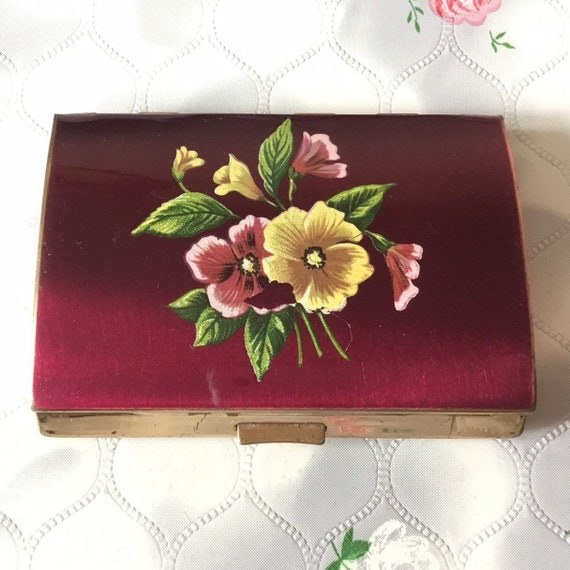 Melissa red and floral cigarette case, c 1960s, vintage business card holder with pink and yellow flowers